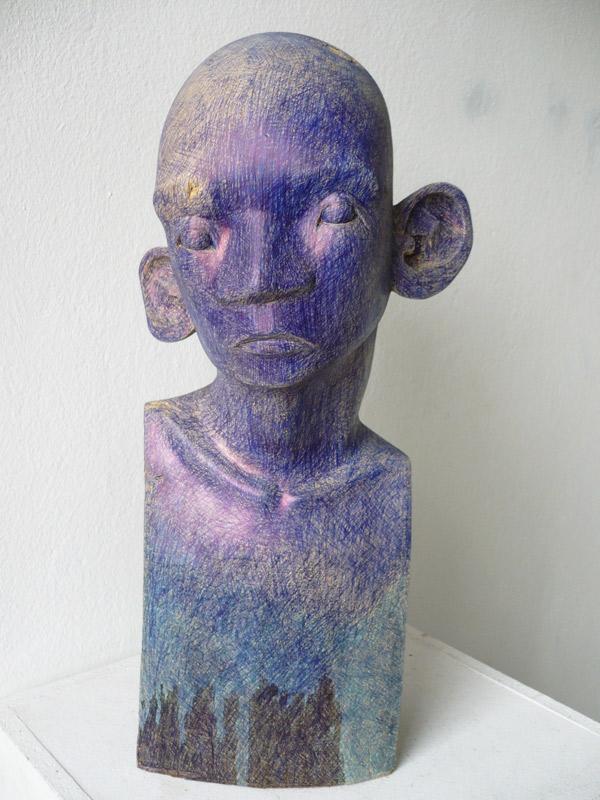 Rautenstrauch: Büste mit blauem Kopf